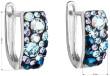 Stříbrné náušnice Swarovski elemnts 31123.3 Blue style