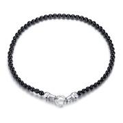 Pánský náhrdelník z onyxu a oceli SEJCFNC489