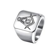 Ocelový pečetní prsten pro muže JCF628S-Svobodní zednáři