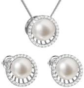 Stříbrná souprava perlových náušnic a přívěsku 29034.1