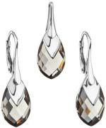 Sada stříbrných náušnic a přívěsku  krystaly Swarovski 39169.4 šedá