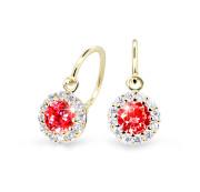 Zlaté dětské náušnice Cutie Jewellery C2745Z-Ruby Dark
