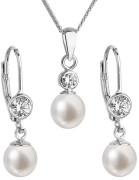 Stříbrná souprava perlových náušnic a přívěsku 29006.1