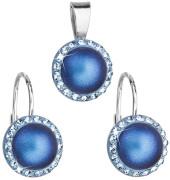 Sada stříbrných šperků se Swarovski elements 39091.3 Tm modrá