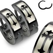 Kruhové náušnice s křížkem 012