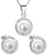 Stříbrná souprava perlových náušnic a přívěsku 29023.1