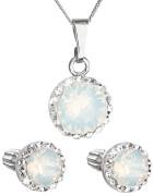 Set stříbrných šperků Swarovski elements 39352.7 Bílý opál