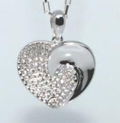 Stříbrné srdce se zirkony 307493
