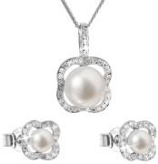 Stříbrná souprava perlových náušnic a přívěsku 29024.1