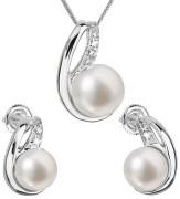 Stříbrná souprava perlových náušnic a přívěsku 29042.1