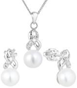 Set stříbrný perlových šperků se zirkony 29044.1