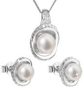 Stříbrná souprava perlových náušnic a přívěsku 29026.1