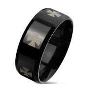 Černý prsten pro muže chirurgická ocel 6668