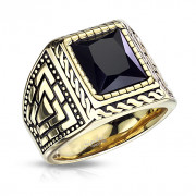 Ocelový pečetní prsten pro pány zlatý 7159