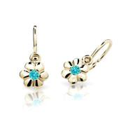 Zlaté dětské náušnice Cutie Jewellery C1736Z-Zeleno modrá