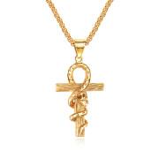 Zlatý náhrdelník z chirurgické oceli JCFGX1427-nilský kříž