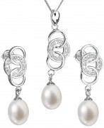 Stříbrná souprava perlových náušnic a přívěsku 29036.1