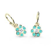 Dětské naušnice zlaté Cutie Jewellery C1737Z-Zeleno modrá