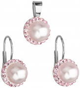 Sada stříbrných šperků se Swarovski elements 39091.3 Růžová