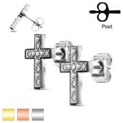 Ocelové náušnice kříže 3033
