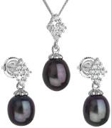 Stříbrná souprava perlových náušnic a přívěsku 29018.3
