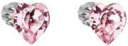 Stříbrné náušnice pecky  srdíčka s kamínky Swarovski 31139.3 Růžová
