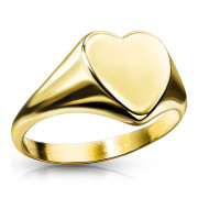 Pozlacený dámský prstýnek srdíčko z chirurgické oceli SERM7689G