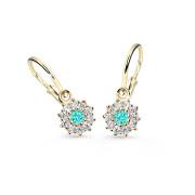 Zlaté dětské náušnice Cutie Jewellery C2149Z-Zeleno modrá