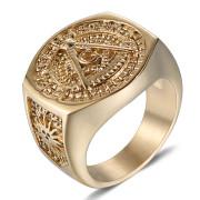 Zlatý pečetní prsten z chirurgické oceli WJHZ63 - Svobodní zednáři