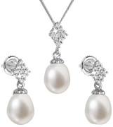 Stříbrná souprava perlových náušnic a přívěsku 29018.1