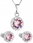 Set stříbrných šperků Swarovski elements 39352.3 Růžová