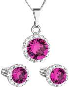 Set stříbrných šperků Swarovski elements 39352.3 Fuchsia