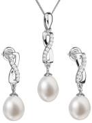 Stříbrná souprava perlových náušnic a přívěsku 29041.1