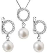 Stříbrná souprava perlových náušnic a přívěsku 29013.1