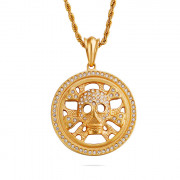 Zlatý náhrdelník lebka chirurgická ocel WJHC262
