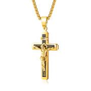 Ocelový náhrdelník zlatý kříž SEGX1626