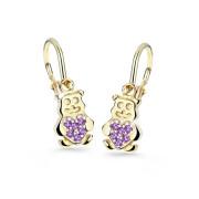 Dětské naušnice zlaté Cutei Jewellery C2751Z Ametyst