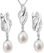 Stříbrná souprava perlových náušnic a přívěsku 29021.1