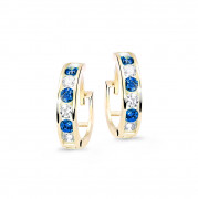 Zlaté dětské náušnice kroužky C3345Z-Modrá