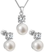 Sada stříbrný šperků s se zirkony a perlami 29002.1