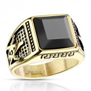 Pánský prsten z chirurgické oceli 7130 - Svobodní zednáři