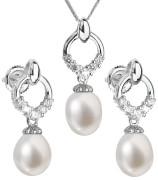 Stříbrná souprava perlových náušnic a přívěsku 29015.1