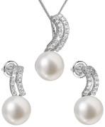 Stříbrná souprava perlových náušnic a přívěsku 29037.1