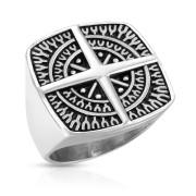 Ocelový prsten pro muže 7349 - Směrová růžice