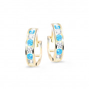 Zlaté dětské náušnice kroužky C3345Z-Sv modrá