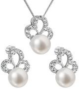 Stříbrná souprava perlových náušnic a přívěsku 29010.1