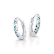 Náušnice kroužky z bílého zlata Cutie Jewellery C3342B-Zeleno modrá