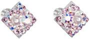 Stříbrné náušnice pecky s kamínky Swarovski 31169.9 Růžová
