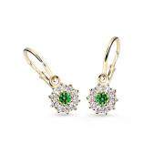 Zlaté dětské náušnice Cutie Jewellery C2149Z-Zelená