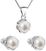 Stříbrná souprava perlových náušnic a přívěsku 29009.1